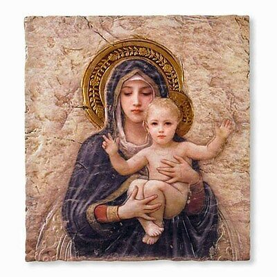 "Madonna and Child Icon Wall Plaque by Bourguereau NEW (VC694) 8x10"" Gift Boxed"