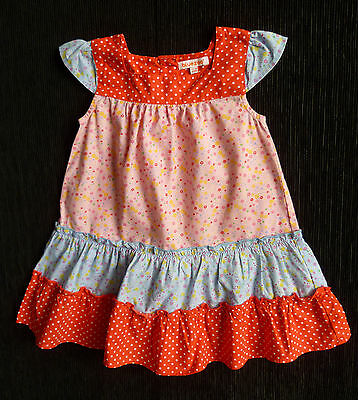 Baby clothes GIRL 12-18m Blue Zoo Debenhams red/pink/blue frill cotton dress