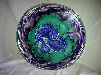 "New Price! 17"" Platter ""Festiv. Grapes"" Bls/Grns & Prpl, Gayle Weyland Art Glass"