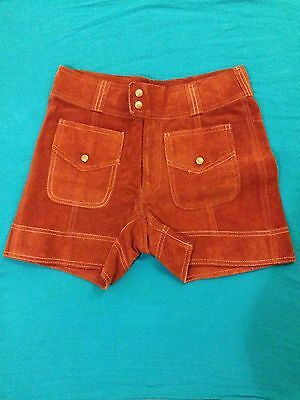 Rare VINTAGE 1960-1970's Zig-Zag San Francisco High-Waisted Suede Leather Shorts