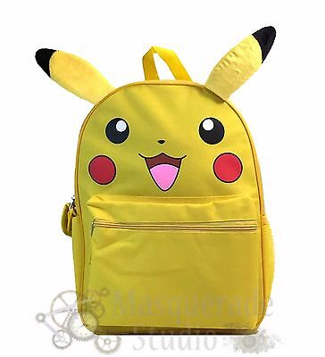 "16"" Pokemon Pikachu Yellow School Bookbag Backpack with Ears for Boys Girls Kids"