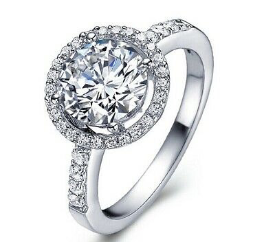 Round Cut CZ White Gold Filled Ring Wedding Bridal Engagement Band Jewelry