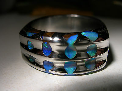 Boulder Opal, Stainless steel,  Mens Ring (Lot 206)