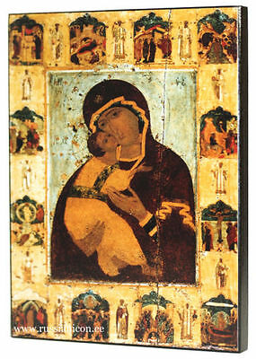 RUSSIAN ORTHODOX ICON – VLADIMIR MOTHER OF GOD (with scenes). XV th century.