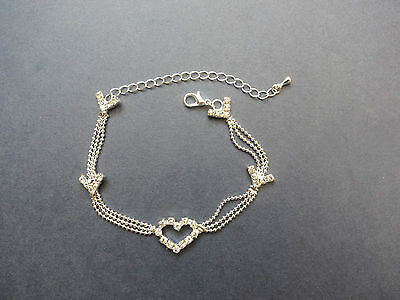 Anklet Foot Chain Silver Plated Heart Charm Ankle Bracelet