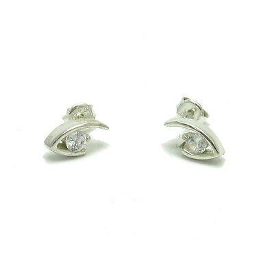 Small Sterling Silver Earrings Solid 925 With 4Mm Cz E000541