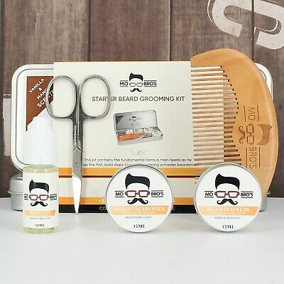 Mo Bro's Beard Grooming Kit- Gift Tin,Moustache Wax, Beard Balm, Beard Oil, Comb