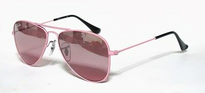 Ray Ban 9506 50 Aviator Junior 211/7E Sunglasses Pink Sole Bambina Rosa Baby