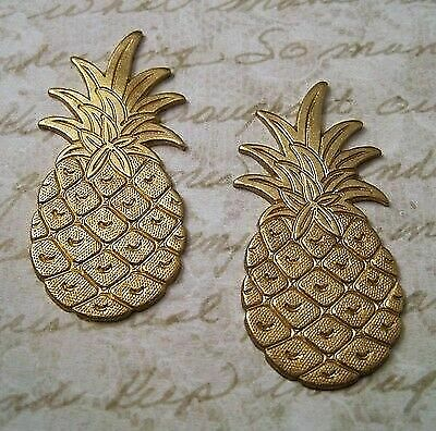 Large Solid Raw Brass Pineapple Stampings (2) - S7597 Jewelry Finding