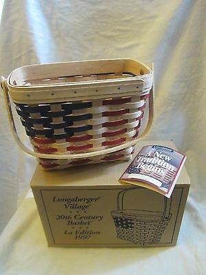 Longaberger Basket Natural Americana Flag Village 20th Century 1st Ed 1997 Box