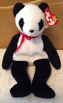 FORTUNE Panda Bear Ty Beanie Baby Collectible Plush Babies Retired