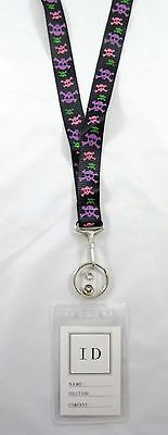 New I.D. Badge Holder Lanyard with Cool Colorful Skull Pattern #LY2
