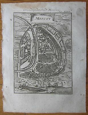 MALLET: Engraved Plan of the City of Moscow  Russia - 1718