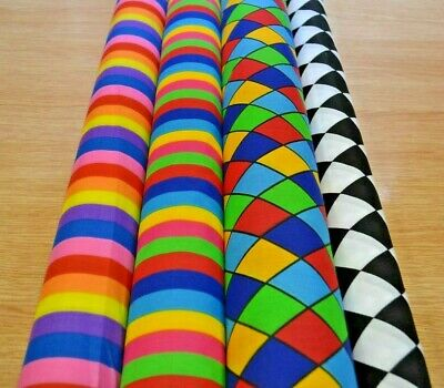 Multi Stripes & Harlequin On Printed Poly Cotton Fabric - Width 112 Cm *Free P&P