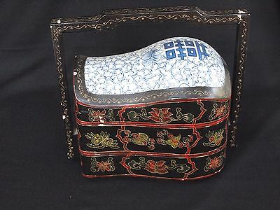 Ornate Carved and Painted Floral Lacquer & Porcelain Layered Chest