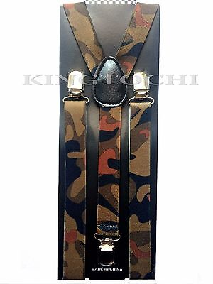 New Mens Womens Camo Clip-on Suspenders Elastic Y-Shape Adjustable Braces