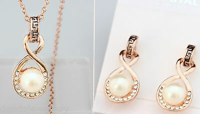 Pearl Bridal Necklace Earrings SET Crystal White or Rose