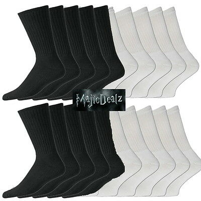 10/20 Pairs Mens Cotton Rich Sport Socks Work Socks Size 6-11 Black White & Mix