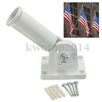 Flag Pole Wall Mount Adjustable Metal Flagpole Holder for Flags Windsock w/Screw