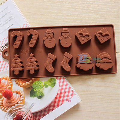 Xmas Gift Snowman Candy Chocolate Soap Jelly Ice Cube Silicone Mould Baking Tray