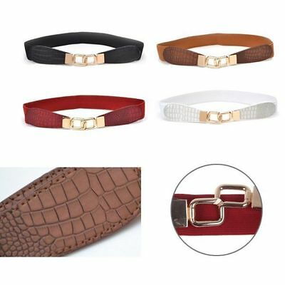 GIRLS ELASTICATED BELT Waisted Waist Gold Buckle Waist White Black Red Brown UK