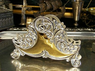 GOLD & SILVER Plated Openwork Napkin Holder Vintage Antique  Perfect Gift New