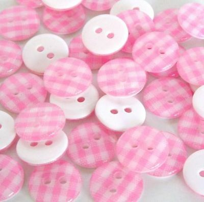 ❤️ Lot Exceptionnel 20 Boutons Vichy Rose Tendre 12Mm Scrapbooking Mercerie
