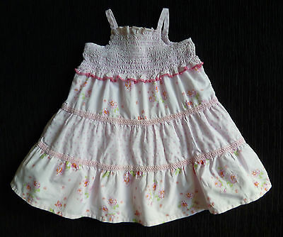 Baby clothes GIRL 6-9m pink cotton dress underskirt smocked 2nd item post-free!
