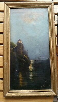 19th century oil painting lighthouse unsigned