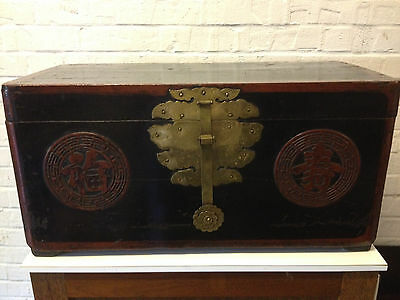 Antique Early 20th Century Korean Red & Black Lacquered Wood Trunk