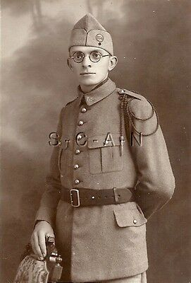 WWII French Real Photo PC- Soldier- Uniform- Hat- Regimental Markings- Portrait