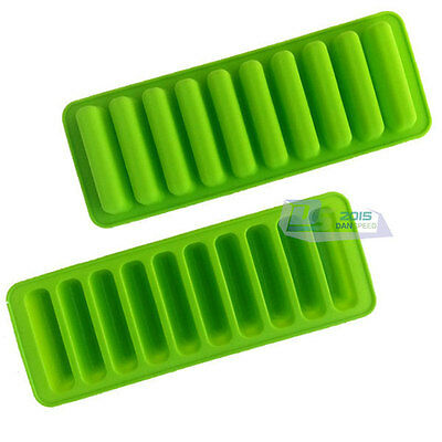 10 Cylinders Silicone Chocolate Cookie Baking Mould Jelly Ice Cube Tray Mold DIY