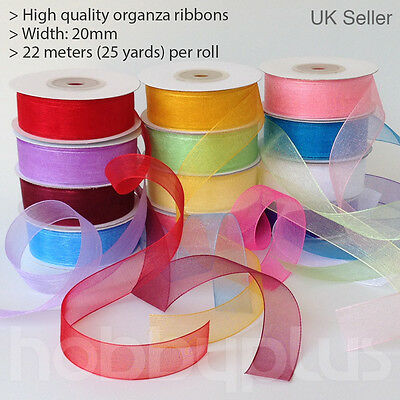 22meter Full Reel 20mm Organza Ribbon High quality Roll Scrapbooking Gift 25Yds