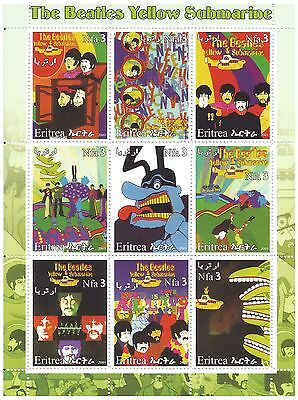 Eritrea Stamps 2003 The Beatles Yellow Submarine psychedelic artwork / MNH