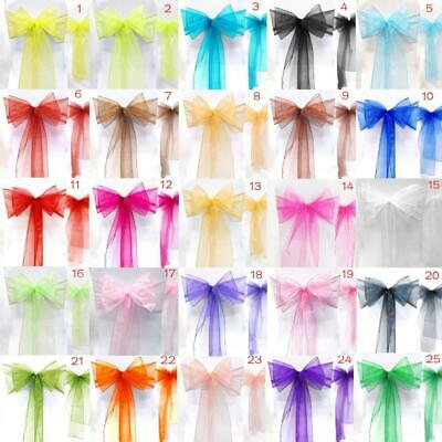Premium Quality Wedding Chair Cover Sashes Bows Organza Sash Tie New Uk