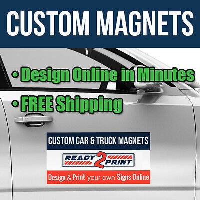 12 x 24 Custom Car Magnets - Magnetic Signs for Autos, Trucks & Vans (Qty 2)