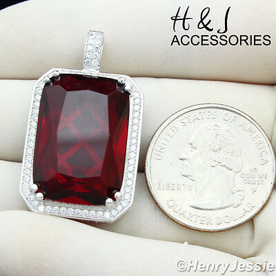925 STERLING SILVER ICED BLING SILVER//GOLD HIP HOP BLACK ONYX//RUBY PENDANT*SP100