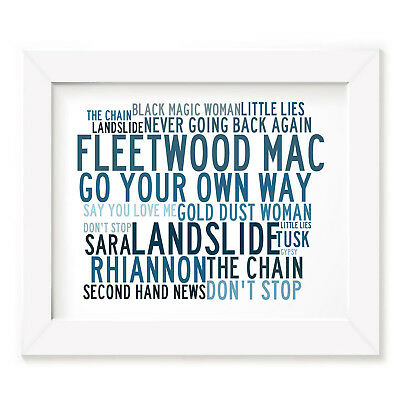 `Crystalline` FLEETWOOD MAC Art Print Typography Song Lyrics Signed Music Poster