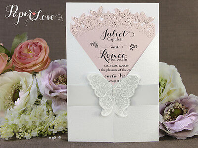 Personalised Handmade Gatefold Wedding Invitations Butterfly Seal FREE P&P