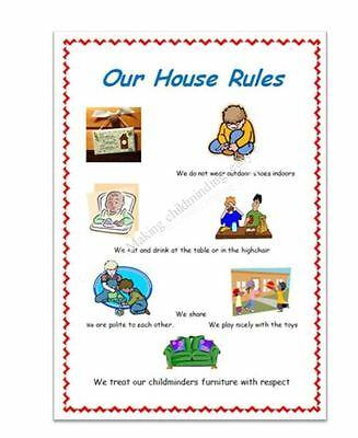 Childminder Our House Rules A4 Poster Childminding Eyfs Resource