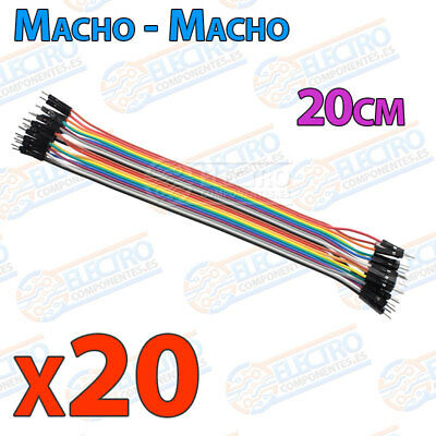20 Cables 20cm Macho Macho jumper dupont 2,54 arduino protoboar cable