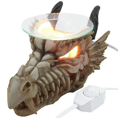 Horn Dragon Skull Electric Oil Warmer Burner Home Decor Lights Figural Skeleton