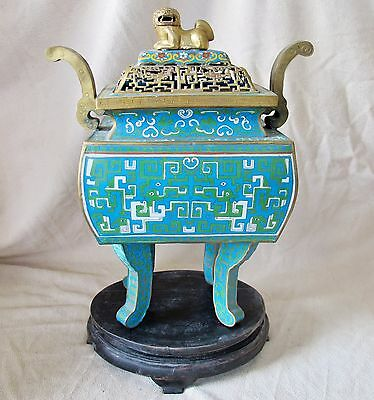 "BIG 19.75"" Antique ? Chinese Archaic Style Cloisonne Censer w/ Foo Dog & Stand"