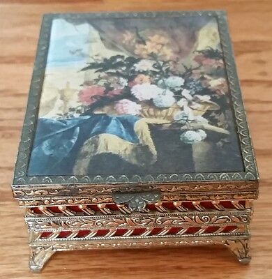 Vintage Schmid Bros Inc wind up Music Box No. 201 Love Story flowers WORKS!