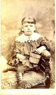 Old CDV photo Serious Girl MABLE DAISY 1891 Worchester Mass. wooden pail