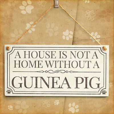 A House Is Not A Home Without A Guinea Pig - Cute Small Gift Idea Handmade Sign