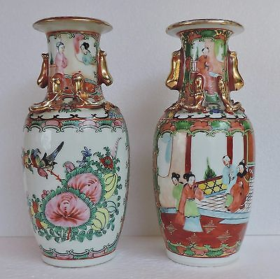 Antique Pair of Chinese Canton Famille Rose Vases, 19th Century.