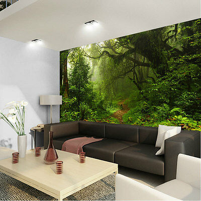 Rainforest Green Tree Jungle Full Wall Mural Photo Wallpaper Print Home Dec Kids
