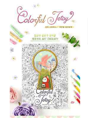 Jetoy Coloring Book Colorful Partially Colored ChooChoo Adult Art Therapy
