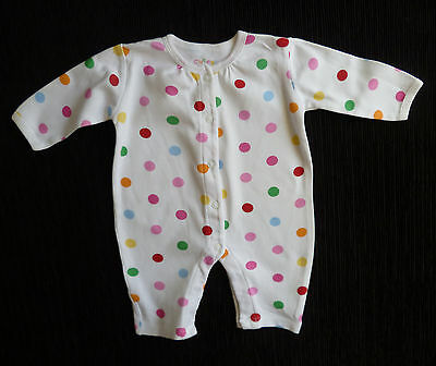 Baby clothes GIRL newborn 0-1m George multi-spotted footless babygrow NEW!